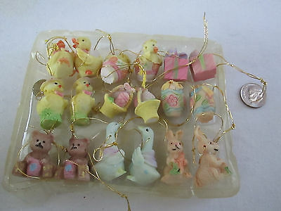 18 pc. Miniature Easter - Spring Ornaments, Bunnies, Chicks, Eggs & More, NIB