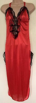 New Black Red Long Lace Lingerie Nightwear Negligee Dress+G-String Size 8-10