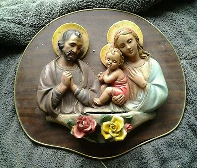 Vintage Religious Ceramic wall hanging with 240volt light, Christian, Christmas?