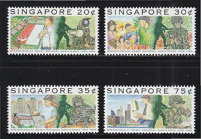 Singapore 1994 25 Years Of Civilian Soldiers National Service Set 4 Stamps Mint