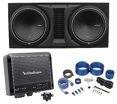 "Rockford Fosgate P1-2X12 Dual 12"" 1000w Subwoofers+Enclosure+Amplifier+Amp Kit"
