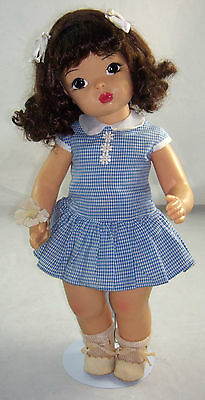 "Vintage Terri Lee 16"" Brunette Doll in Blue Check Dress & Can-Can Panties Slip"
