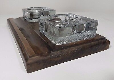 Vintage antique oak wood glass inkwell ink pen stand heavy