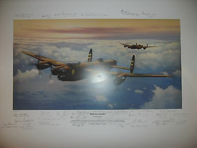 KEITH ASPINALL PRINT`HOME FOR CHRISTMAS`signed by 11 617sqn & 17 other veterans