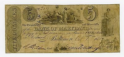 1831 $5 The Bank of Maryland - Baltimore, MARYLAND Note