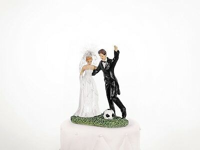 Cake Topper Newly-weds with a soccer ball, 14cm, 1piece PF31