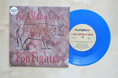 "FOO FIGHTERS For All The Cows UK blue vinyl 7"" in picture sleeve Roswell Records"