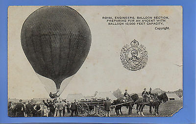 Vintage Postcard Royal Engineers Balloon Section Preparing For Ascent Military