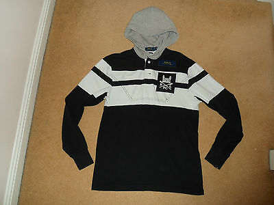 New Polo Ralph Lauren Hooded Rugby Sweatshirt In Black White Size Small
