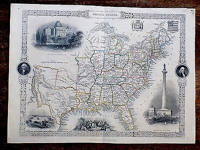 c1850 United States America Tallis Rapkin Genuine Antique Map Views Washington