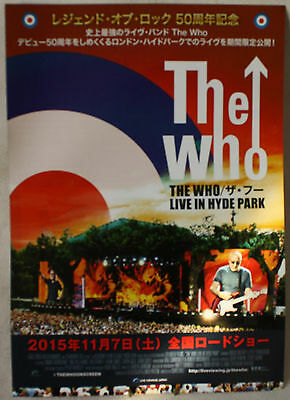 THE WHO LIVE IN HYDE PARK MINI JAPANESE 2015 FLYER/POSTER 18 x 26 cms