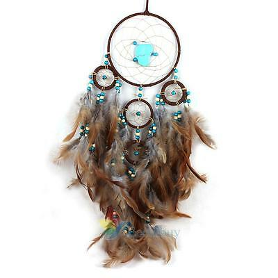"Blue Stone Large Handmade Dream Catcher Feathers Wall Hanging Decoration 24.8"" A"