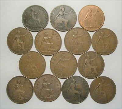Collection Lot UK (Great Britain) 1/2,1 Penny, Farthing Coins*1886-1967*18 Coins