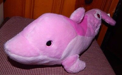 "RARE Pink DOLPHIN 18"" Plush SEA WORLD  Bottlenose Jeweled Stuffed Animal Toy"