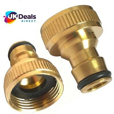 "Brass Hose Tap Connector 3/4"" threaded garden water Pipe Adaptor Fitting MALE"