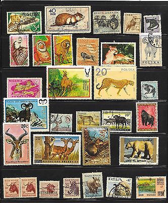 Wild Animal Page Of 42 Stamps;postal & Cto Cancels;world Wide Sources.