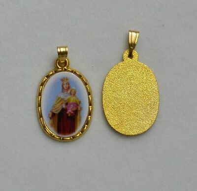 Our Lady Mount Carmel Picture Medal Pendant, 20x15mm Gold Tone Border, Made In I