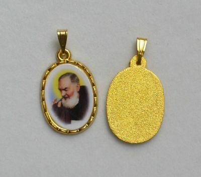 Padre Pio Picture Medal Pendant, 20x15mm Gold Tone Border, Made In Italy Quality