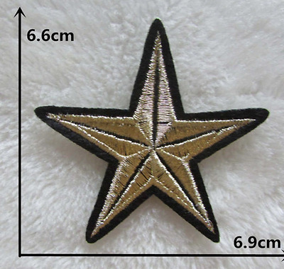 Ecusson Patch Thermocollant Broderie Etoile Couleur Or Star