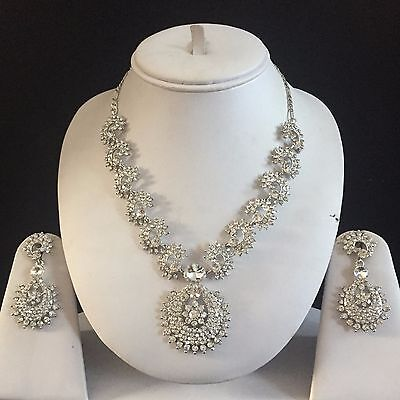 Silver Clear Costume Jewellery Necklace Earrings Crystal Diamond Set Bridal New