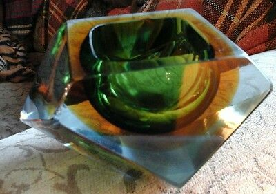 Murano Sommerso prism faceted Vintage Glass Dish  badly damaged