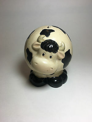 Black & and White Cow Piggy Bank GOOD CONDITION CERAMIC HOLSTEIN