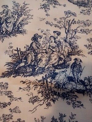 Vintage French Toile Fabric Cotton Romantic Classical Blue