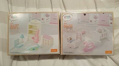 dolls house wooden furniture sets includs nursery and child's bedroom brand new