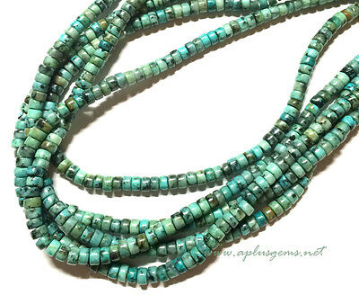 4mm Natural Green African Turquoise Heishi  Beads * design your jewelry
