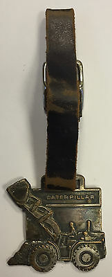 1940/50 CATERPILLAR TRACTOR Advertising WATCH FOB/KEY CHAIN/MEDAL wLEATHER STRAP