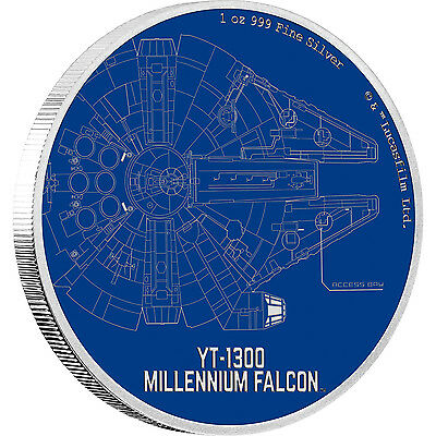 MILLENIUM FALCON Star Wars Classic 1oz proof coin Niue 2017