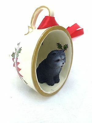 Chow Chow Blue Tea Cup Christmas Ornament Holiday Dog Figurine