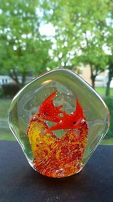 Vintage Murano Art Glass Aquarium Paperweight With Scalar Fish