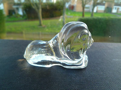 Vintage Clear Art Glass Lion Figurine