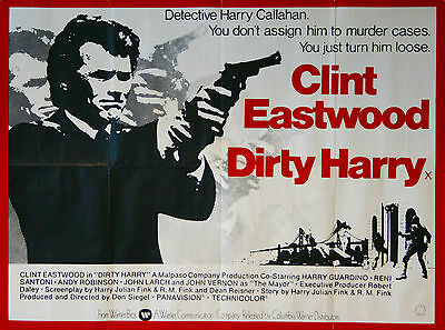 Dirty Harry, Original 1974 British Quad Movie Film Cinema Poster, Clint Eastwood