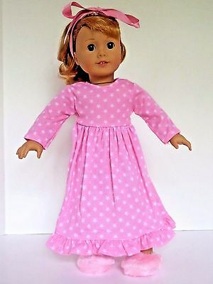 "Pink Star Nightgown and Slippers Pajamas Fits 18"" American Girl Doll Clothes"