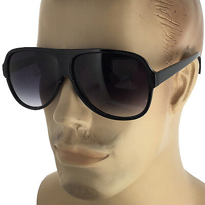 Men's Large Black Oversized Retro Vintage AVIATOR Designer Fashion Sunglasses
