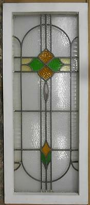 "LARGE OLD ENGLISH LEADED STAINED GLASS WINDOW Abstract Floral 16.75"" x 40.25"""