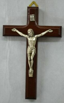 Beechwood Wall Crucifix, Metal Corpus, Made In Italy, Gift Boxed