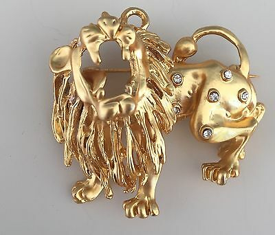 Unique Vintage Roaring Pendant/Lion Brooch In Gold Tone Metal With Crystals