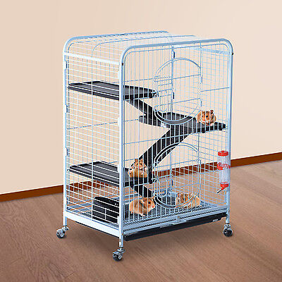 "Deluxe 37"" Pet Cage Hutch Rat Bird Steel Crate Playpen w/ Bowl 360° Wheel"