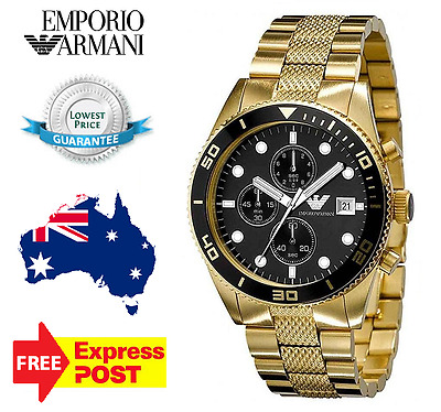 EMPORIO ARMANI AR5857 Mens Watch Gold Black Stainless Steel AR5857