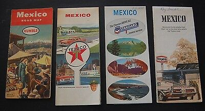 Lot of 7 Vintage Mexico Gas Station Road Maps - Humble Oil / Texaco