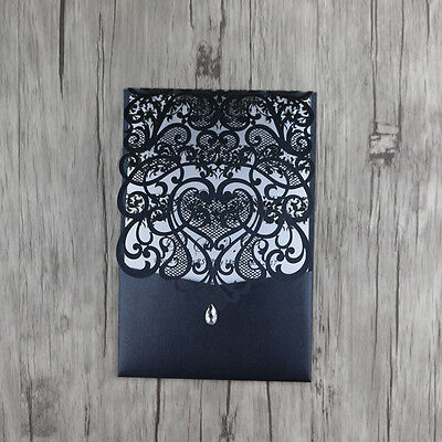 Pocket Laser Cut out Personalized Wedding Invitations Cards With Envelopes