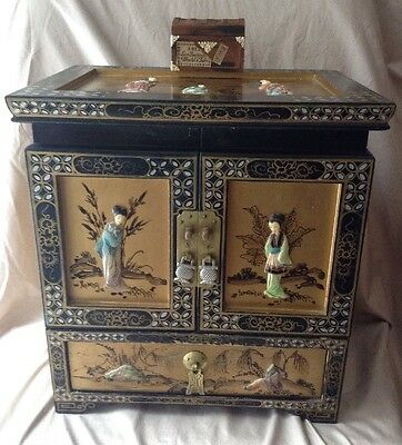Antique Chinese Brass & Lacquered Wood  Chest W/ Hand Carved Jade Maidens