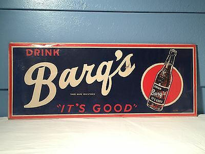 "Vintage Barq's It's Good 1950's Drink Advertising Sign 28"" X 11"" 111-PB"