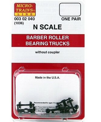 Micro Trains N 00302040 (1036) Barber Roller Bearing Trucks without Couplers