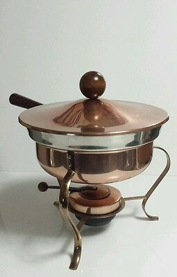 Vtg Copper & Aluminum Chafing Dish/Fondue Pot Sterno Holder & Stand Made in USA