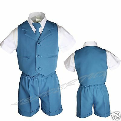 Teal Blue Green Turquoise Boy Toddler Formal 4pc Vest Set Short Suit Baby S-4T
