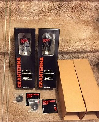 LOT of (2) BRAND NEW K40 Black CB Mobile Antennas WITH Rain Caps and Whips!